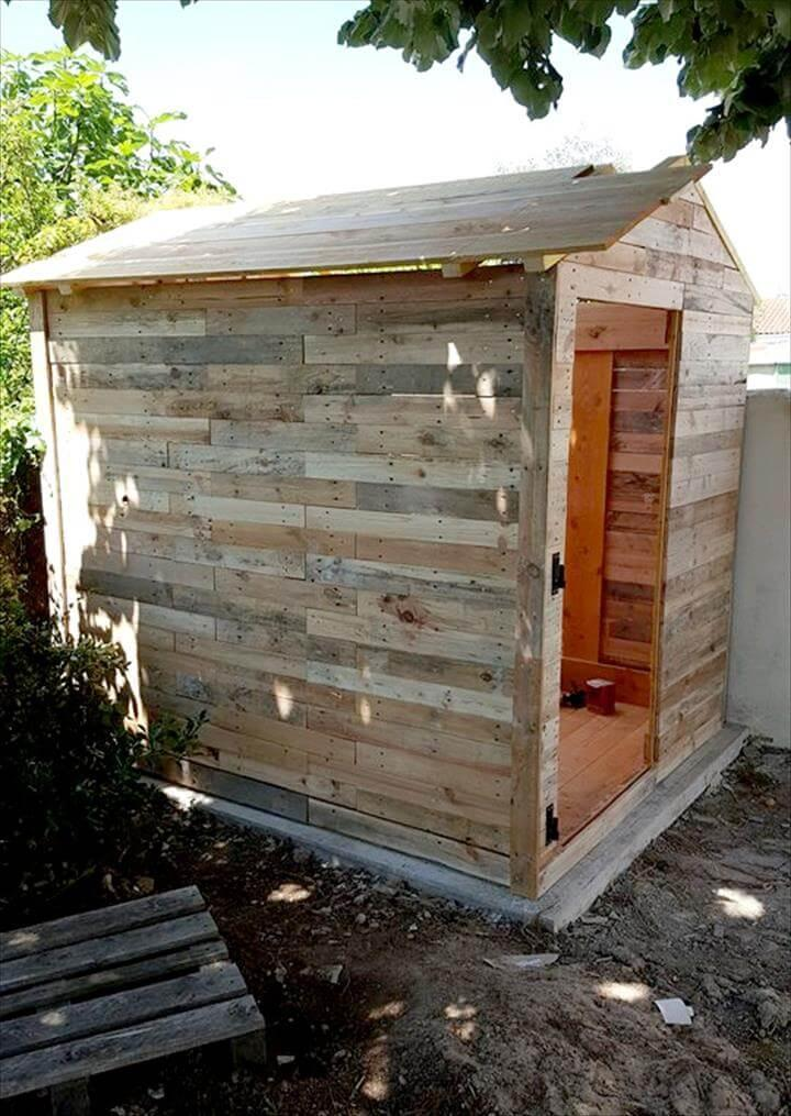low-cost wooden pallet garden shed or cabin