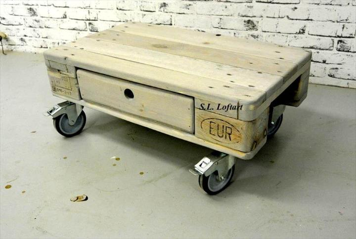 handmade mini pallet one drawer coffee table with wheels