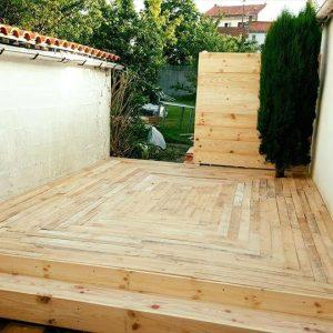 wooden deck installed with pallets