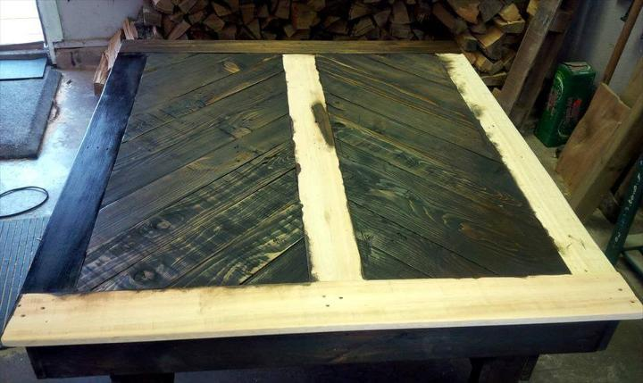 pallet-made chevron dining table