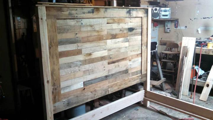 no-cost wooden pallet king headboard