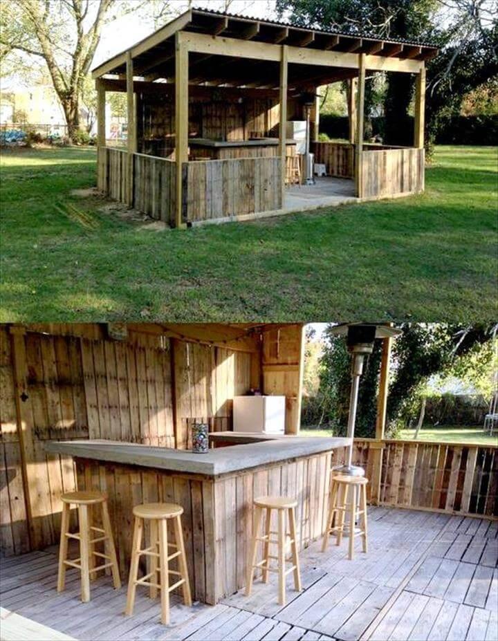 wooden pallet garden bar