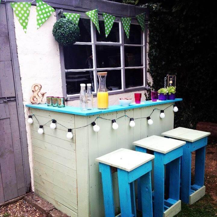 white painted pallet bar with blue top