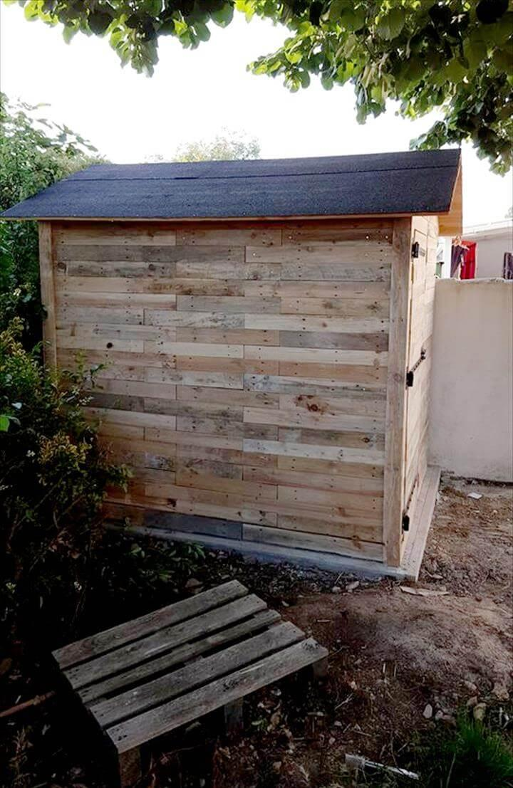 handcrafted wooden pallet garden shed or cabin