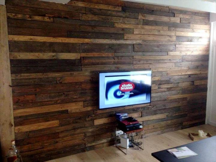 self-installed wood pallet media wall