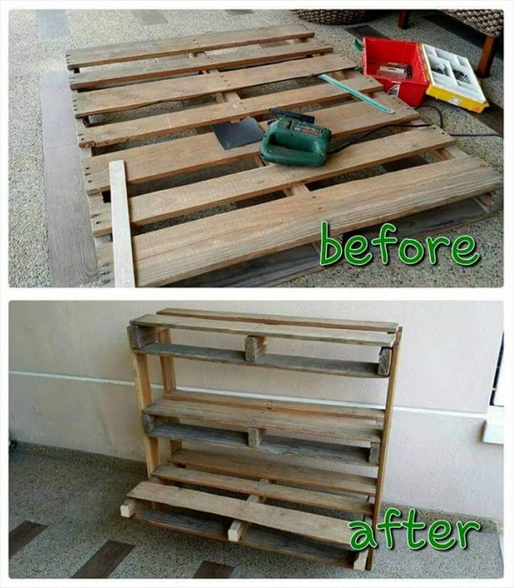 recycled pallet into vertical shelves