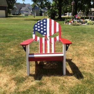 diy pallet Adirondack skull chair with painted country flag