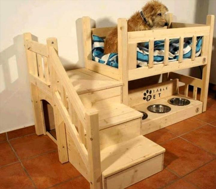 Pallet Dog Bed with Food blows and dog house