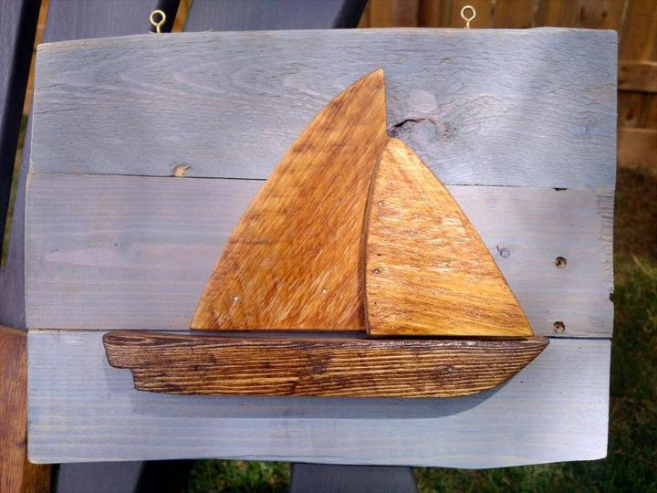 recycled pallet boat wall art