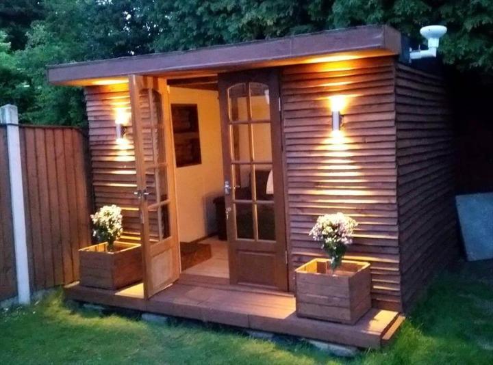 handmade wooden pallet outdoor cabin