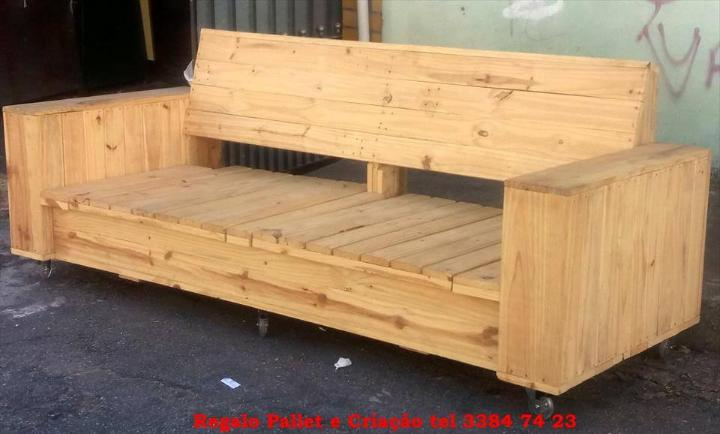 wooden pallet beefy bench or sofa on 6 caster wheels