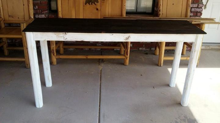 custom wooden pallet shabby white and black entry table