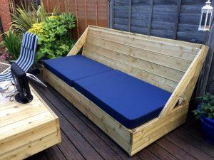 Wooden Deck with Pallet Sofa and Coffee Table