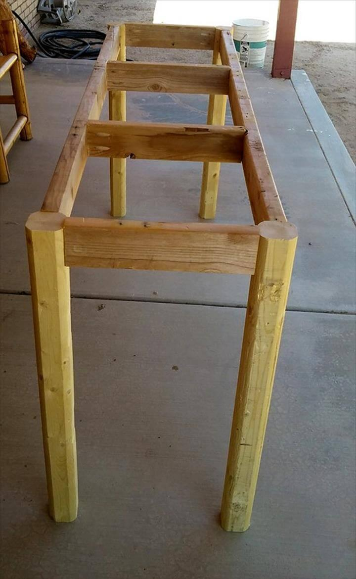 wooden pallet entryway table frame