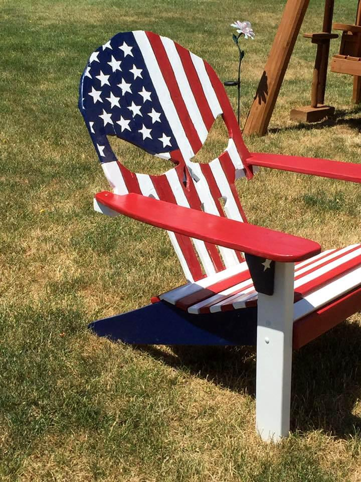 custom wooden pallet Adirondack chair with painted flag