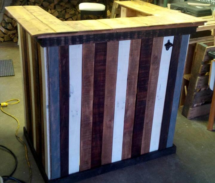 stylish multicolor wooden pallet bar