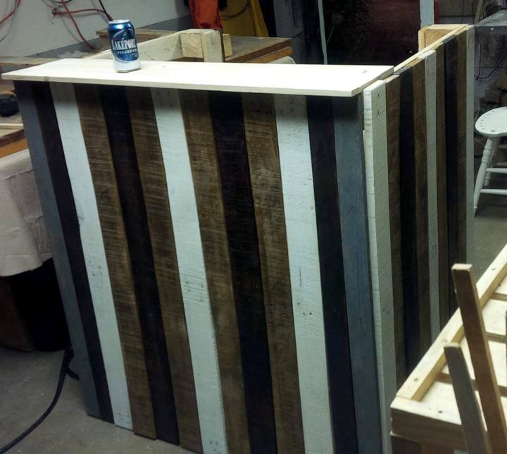 handmade wooden pallet bar
