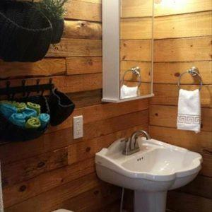 handmade wooden pallet bathroom wall paneling