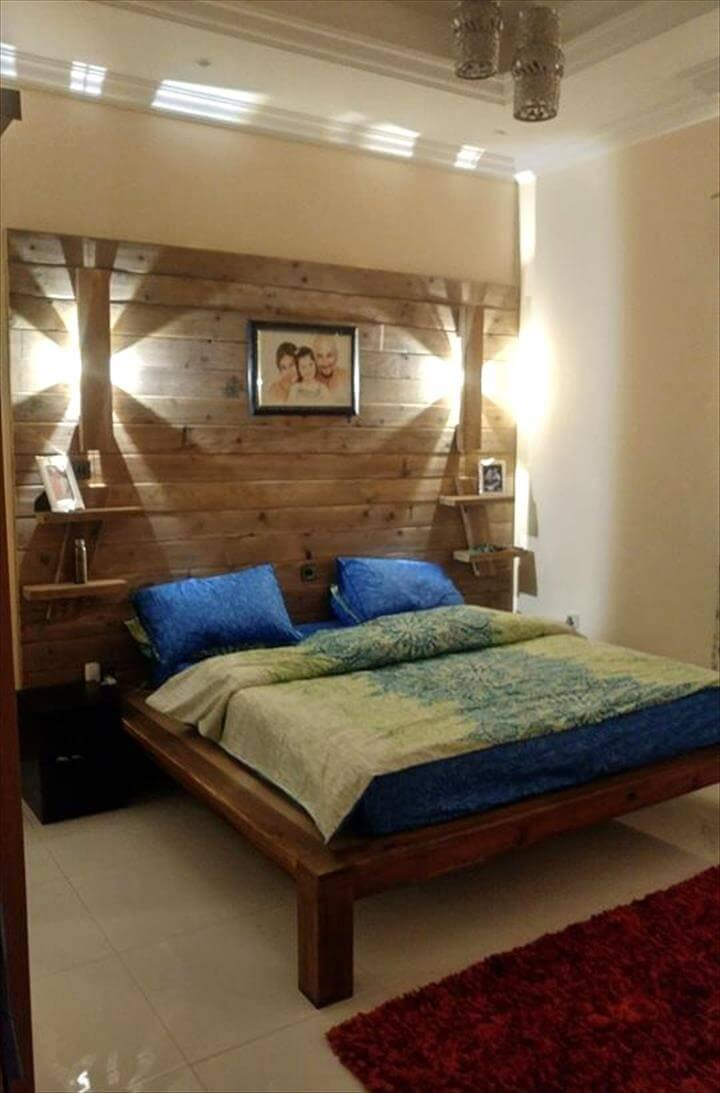 DIY Pallet Bed with Wall Headboard + Lamps + Shelf - Easy ... on Pallet Bedroom Design  id=28869