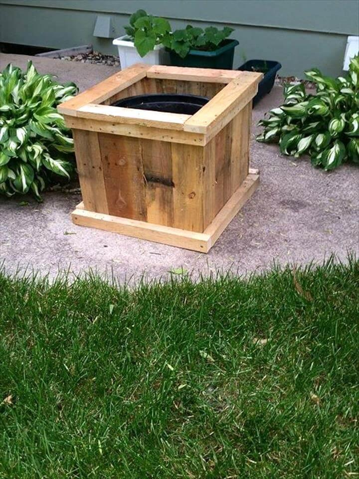 handmade square pallet planter box