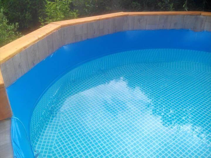 repurposed wooden pallet swimming pool