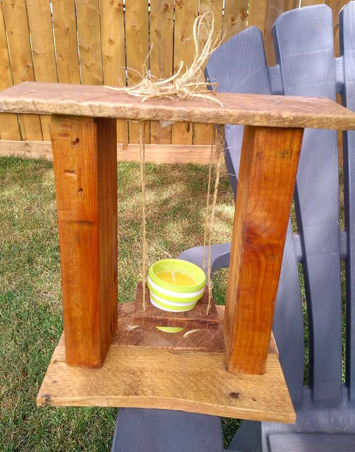 handmade pallet candle swing gift