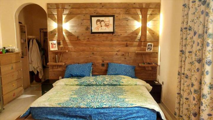 diy pallet bed with a large back
