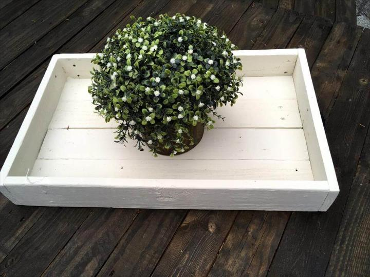 wooden pallet white tray with metal handles