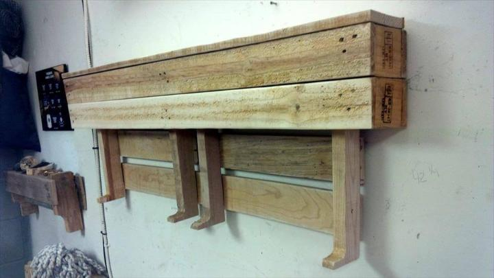 self-made pallet wall shelf