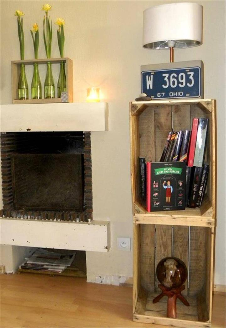 pallet crate nightstand or side table