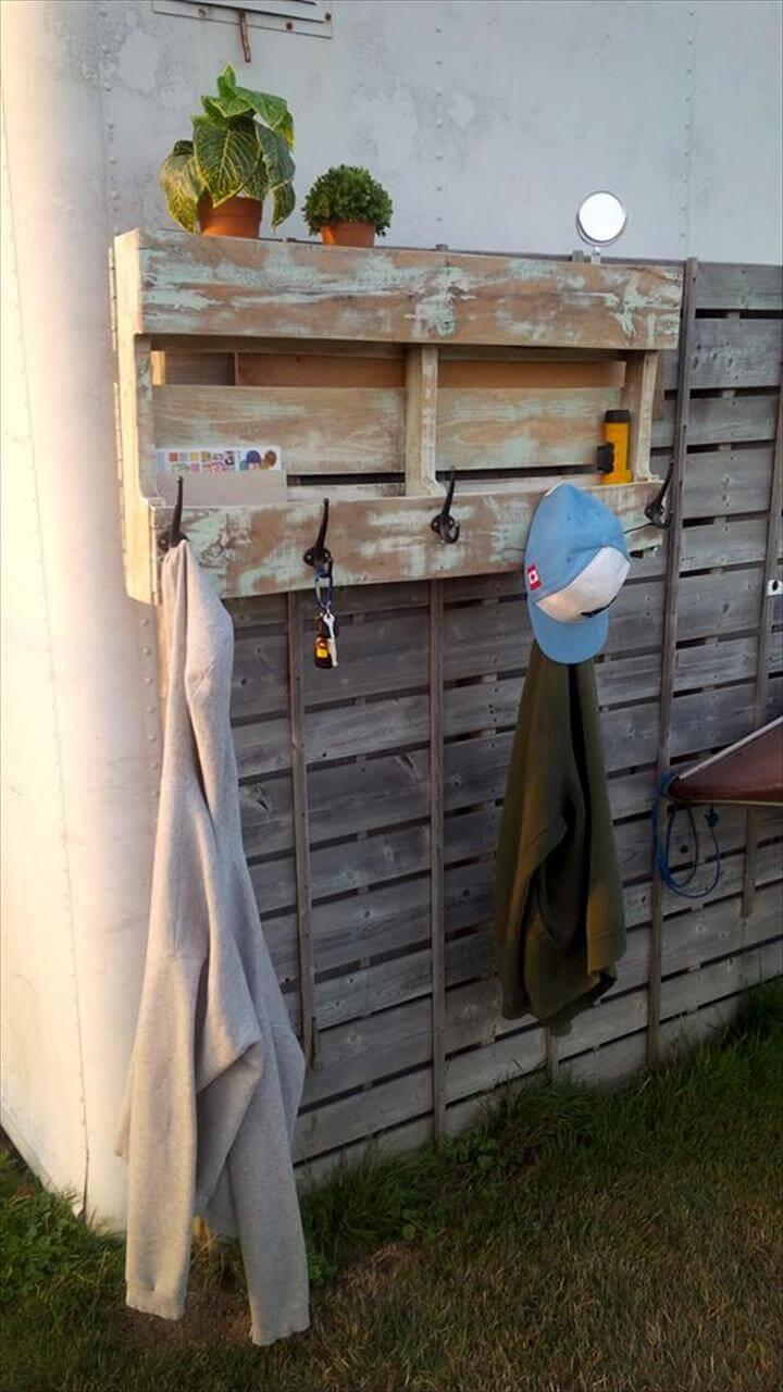 self-made wooden pallet coat rack