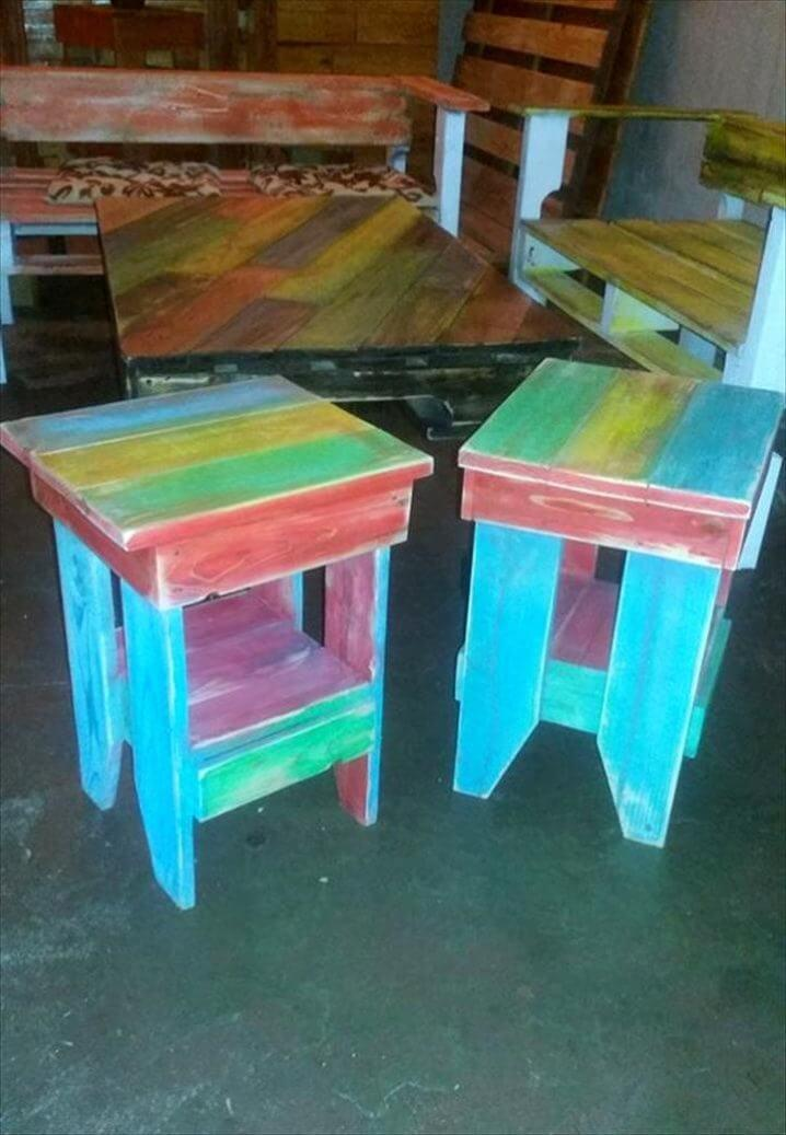 colorful pallet painted stools