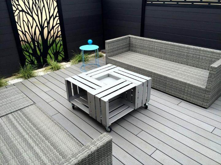 pallet sofa with crate coffee table