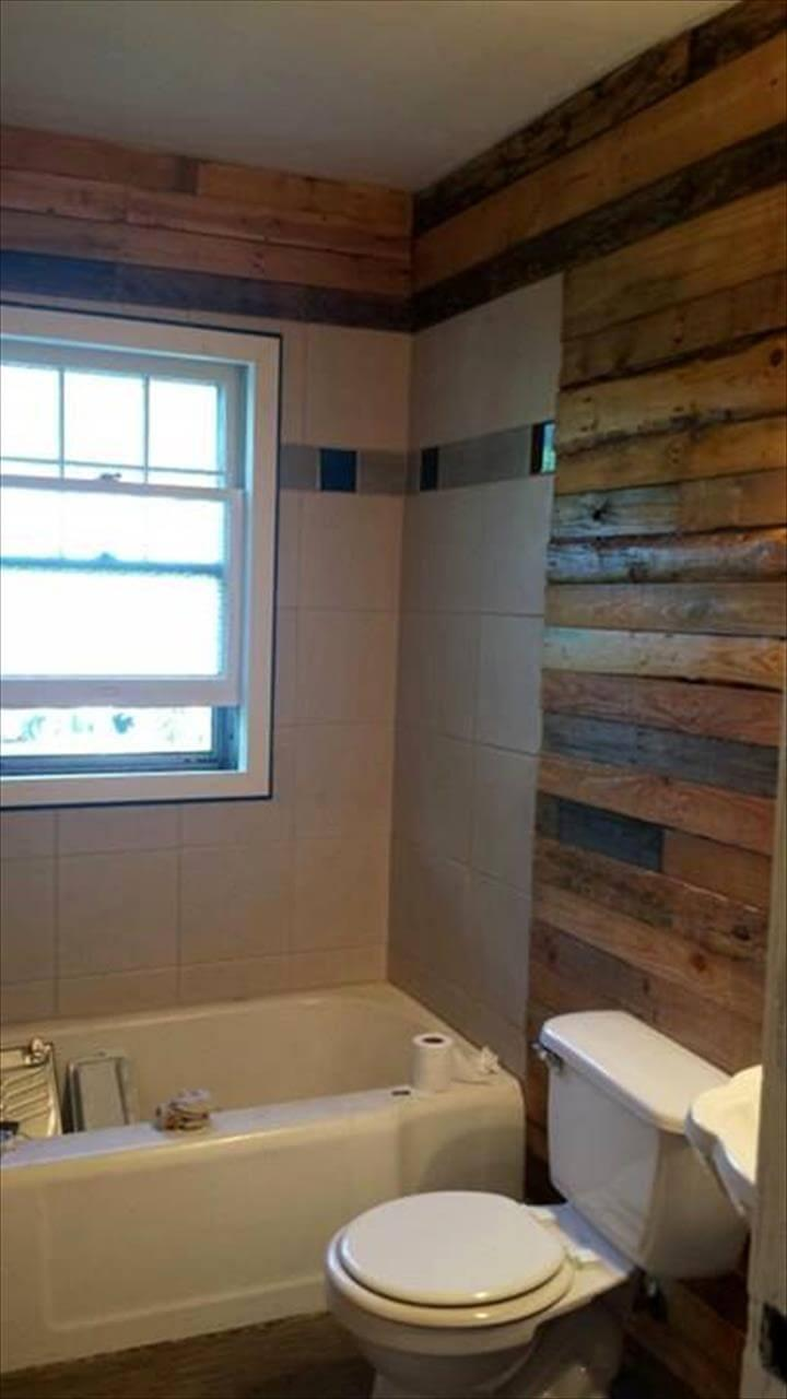 diy pallet bathroom wall paneling easy pallet ideas. Black Bedroom Furniture Sets. Home Design Ideas