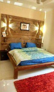 DIY Pallet Bed with Wall Headboard + Lamps + Shelf