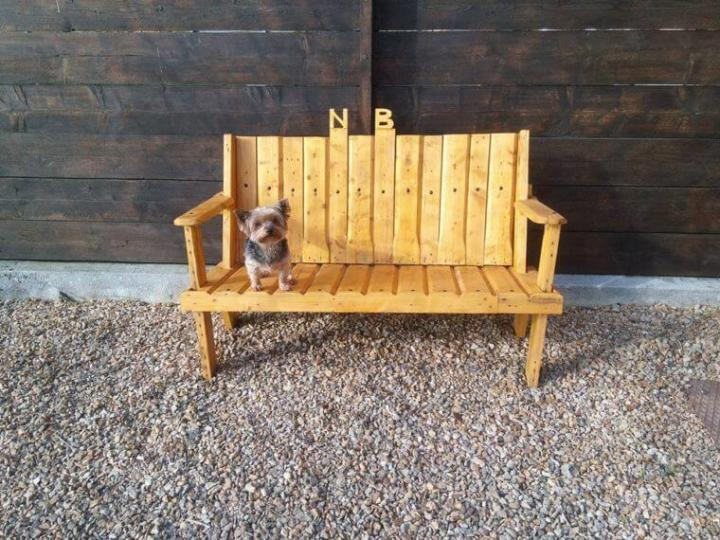 pallet bench for pebbled outdoors
