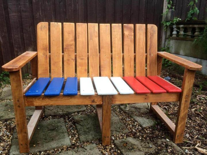 wooden pallet bench with colorful painted berth