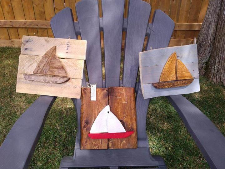 pallet boat wall art pieces