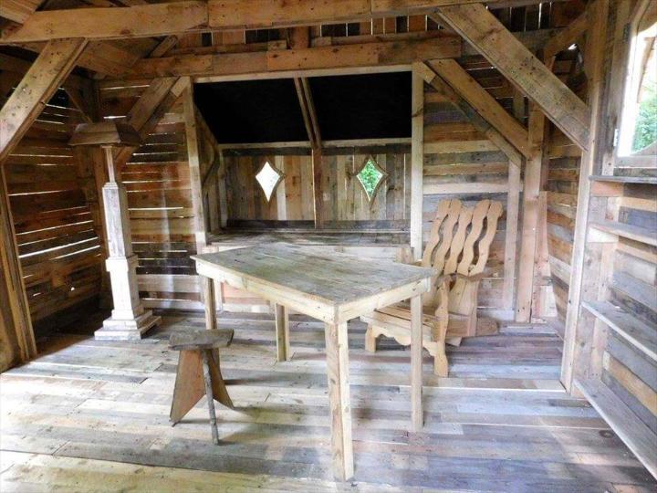handmade wooden pallet cabin