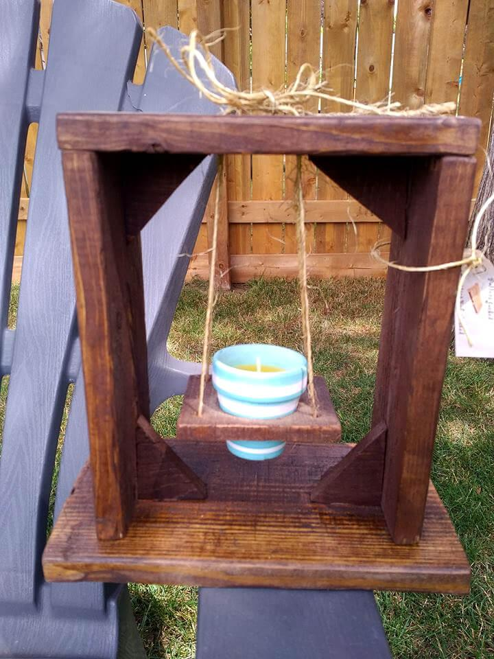 rustic wooden pallet candle swing gift