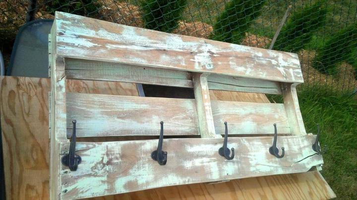 rustic wooden pallet coat rack