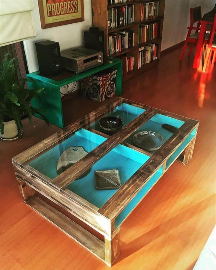 diy pallet coffee table with painted inside