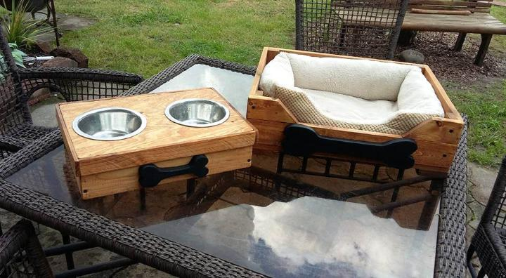 repurposed wooden pallet dog feeder and bed