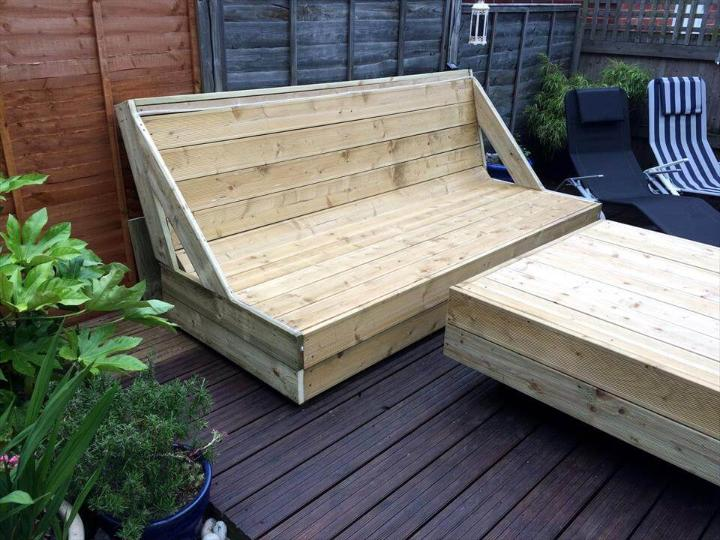 wooden pallet block style deck sofa and coffee table