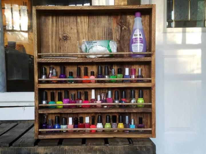 pallet wood nail polish rack