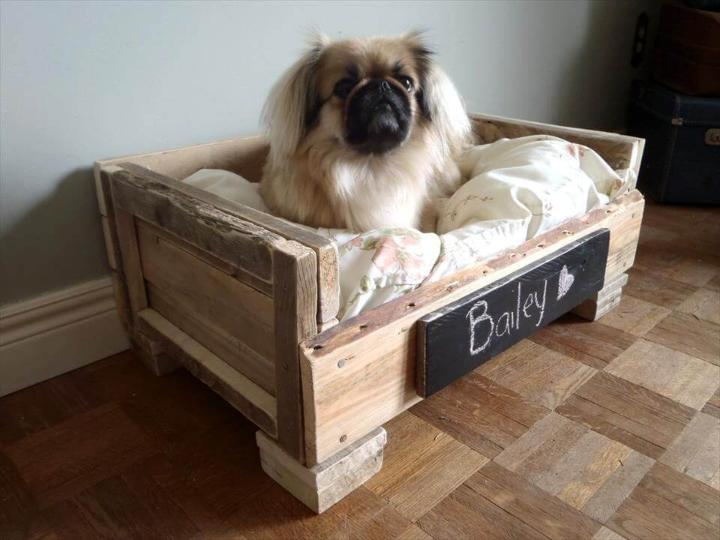 handmade wooden pallet puppy bed with short wooden legs