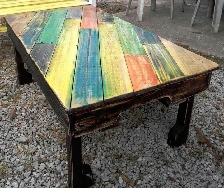 colorful pallet coffee table with diagonal stripe patterned top