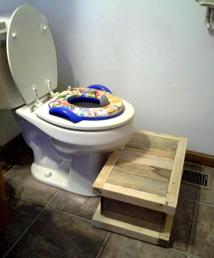 pallet toilet seat footrest for kids