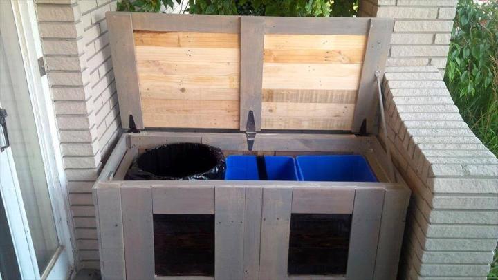 custom built sturdy pallet trash bin can holding box