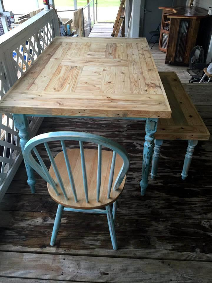 old dining set redone with pallets